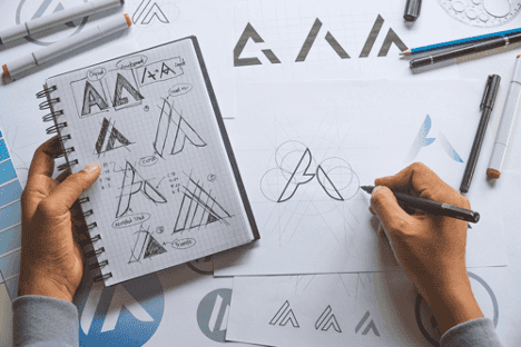 a logo being drafted together as part of brand identity ideation